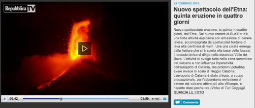 Nuovo spettacolo dell Etna  quinta eruzione in quattro giorni   Repubblica Tv   la Repubblica